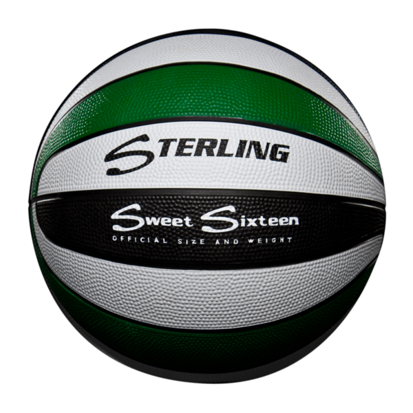 16 Panel Rubber Camp Basketball - Green White Black